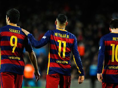 O temido trio de ataque do Barcelona.