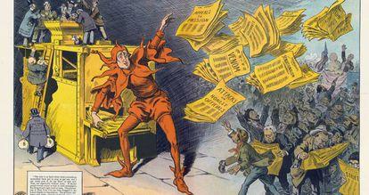 A imprensa amarela, de M. Slackens, em que se mostra W. Randolph Hearst como um bobo da corte que divulga notícias. Publicado por Keppler & Schwarzmann em 1910.