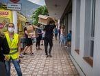 22/09/2021 Polideportivo de los Llanos, La Palma. Este es uno de los puntos de recogida de alimentos y ropa, además dan asistencia psicológica a las personas afectadas.