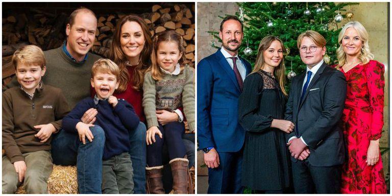 A pose natalina dos duques de Cambridge e, à direita, de Haakon e Mette Marit, da Noruega.