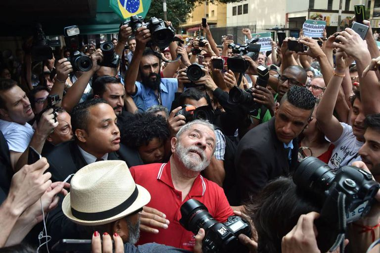 Former Brazilian president Luiz Inácio Lula da Silva after a recent press conference.