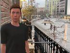 La realidad aumentada muestra a Lucas en el balcón de una casa en Madrid.
