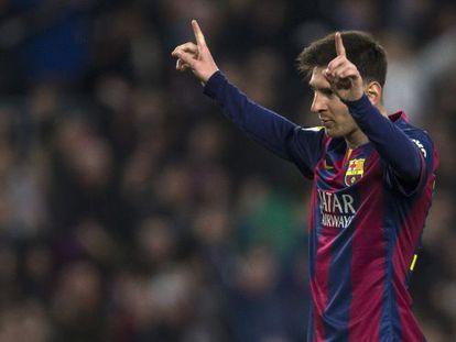 Messi comemora um gol contra o Córdoba.