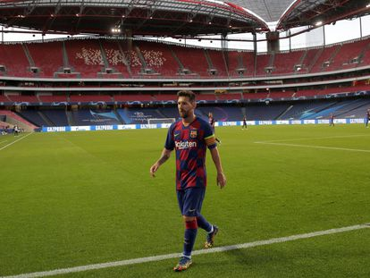 Lionel Messi depois de perder para o Bayern de Munique, em 14 de agosto, em Lisboa.