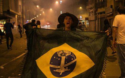 Protestos no centro do Rio de Janeiro contra o aumento da tarifa do transporte, em janeiro de 2016