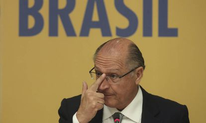 Geraldo Alckmin durante coletiva nesta segunda-feira em Brasília.