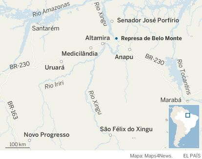 Mapa da região de Altamira, no Pará.