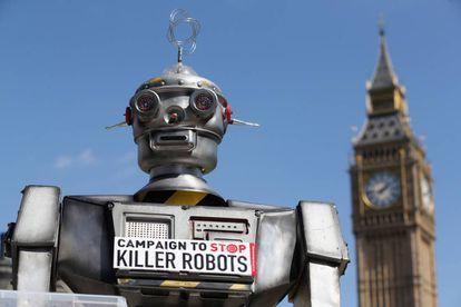 Campanha contra o uso de robôs na guerra, em Londres, em 2013.