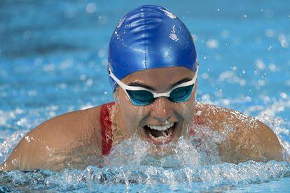 A nadadora mineira Mariana Gesteira Ribeiro, que conquistou um bronze nos 100m livre S9 nesta terça.