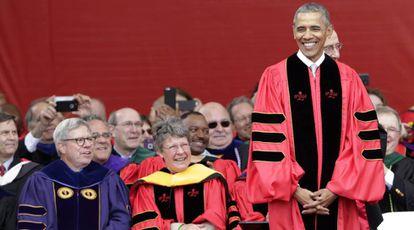 Obama em seu discurso na Rutgers University.