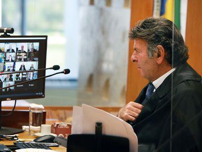 O presidente do STF, Luiz Fux, durante sessão virtual nesta quarta-feira.