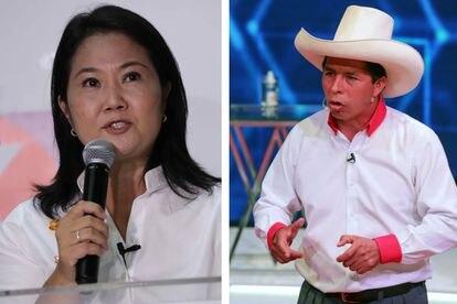 Keiko Fujimori e Pedro Castillo, os candidatos que disputarão o segundo turno da eleição presidencial no Peru.
