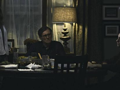Toni Colette, Gabriel Byrne e Alex Wolff, três dos protagonistas de 'Hereditário'.