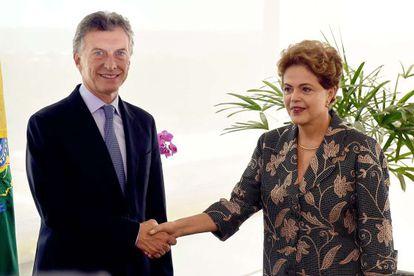 Dilma Rousseff e Mauricio Macri, em encontro em Brasília.