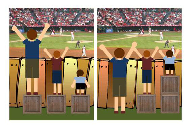 À esquerda, a igualdade; à direita, a equidade. A ilustração, feita em meia hora com o Power Point, é de Craig Froehle, da Universidade de Cincinnati.