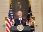U.S. President Joe Biden speaks about the fight to contain the coronavirus disease (COVID-19) pandemic, at the White House in Washington, U.S. January 26, 2021. REUTERS/Kevin Lamarque