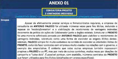 Primeira página da proposta da delação de Antonio Palocci à força-tarefa.