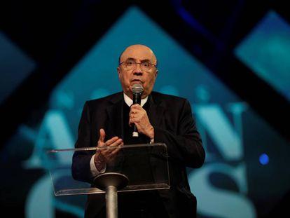 Henrique Meirelles durante evento da Igreja Sara Nossa Terra em Brasília no dia 5 de janeiro.