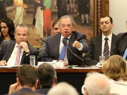 O ministro Paulo Guedes durante debate da reforma da Previdência na Câmara na quarta-feira.