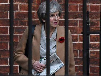 Theresa May na quinta-feira na sede do Governo em Londres.