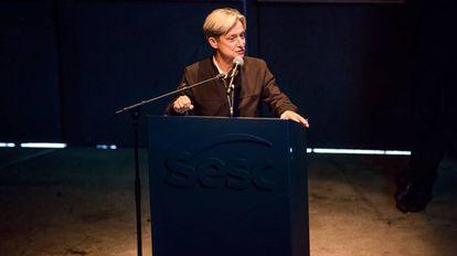 Judith Butler em palestra no Sesc Pompéia, em São Paulo