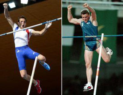 Comparação dos saltos de Lavillenie e Bubka em duas imagens de arquivo.