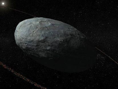 Reconstrução de Haumea e seu anel