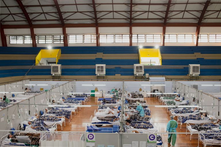 Hospital de campanha de Santo André, em São Paulo.