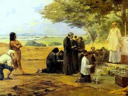 'Fundação de São Paulo', obra de Antônio Parreiras, 1913, hoje parte do acervo da Pinacoteca.