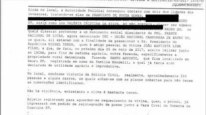 Em boletim de ocorrência, policiais registram que manifestantes invadiram fazenda de coronel para pressionar Temer