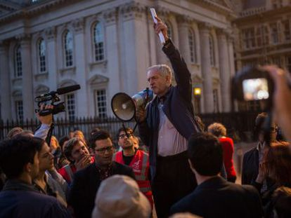 Jeremy Corbyn, em um ato em Cambridge.
