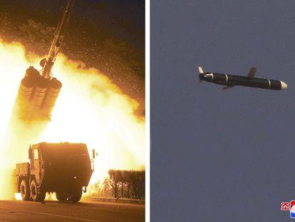 Televisores em uma loja sul-coreana mostram o lançamento de mísseis da Coreia do Norte em 24 de março deste ano.