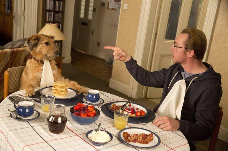 O ator Simon Peeg está fazendo uma coisa que desagrada seu cão no filme 'Absolutamente Impossível' (2015).