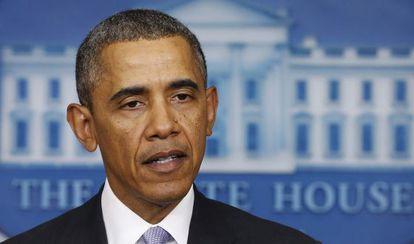 Barack Obama, durante sua fala sobre Ucrânia.