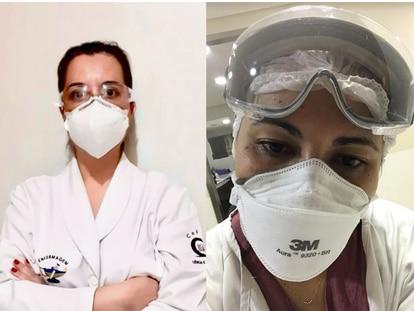 As enfermeiras Luciana Martizez e Denise Reis Dias Pupin.