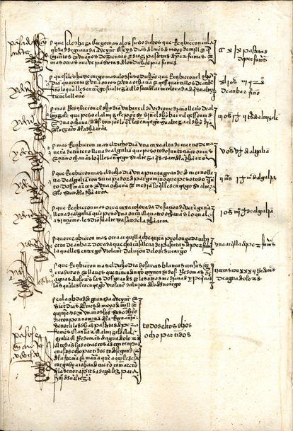 Página do livro de contas com a relação de alguns dos perfumes usados por Isabel, a Católica.