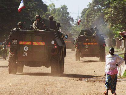 Militares franceses em Bangui, capital da República Centro-Africana.