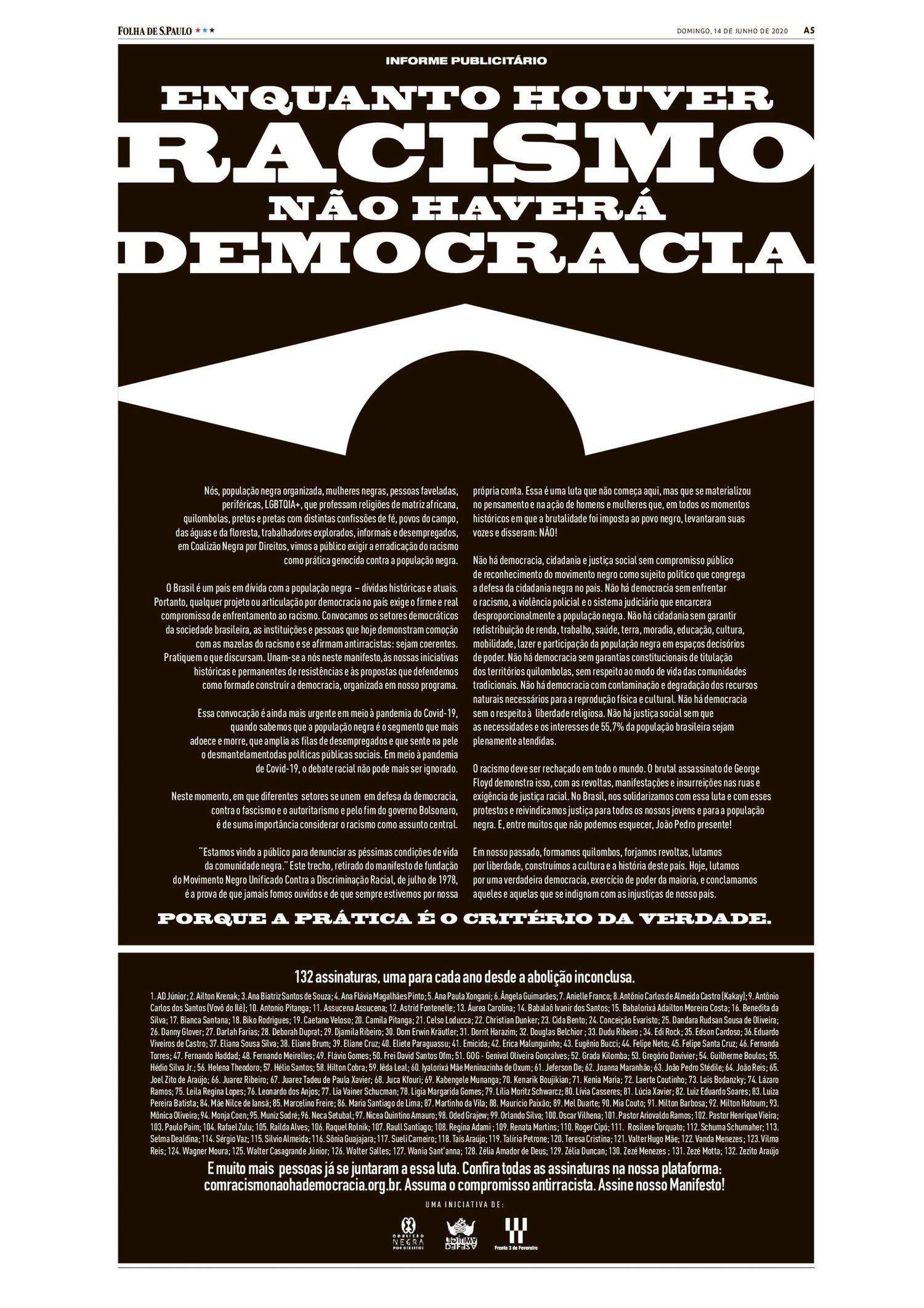 Reprodução do anúncio do manifesto no jornal 'Folha de S.Paulo'