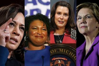 A partir da esquerda: Kamala Harris, Stacey Abrams, Gretchen Whitmer e Elizabeth Warren.