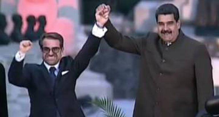 Rafael Lacava, de punho erguido ao lado de Nicolás Maduro, na sua posse como governador de Carabobo, na Venezuela.