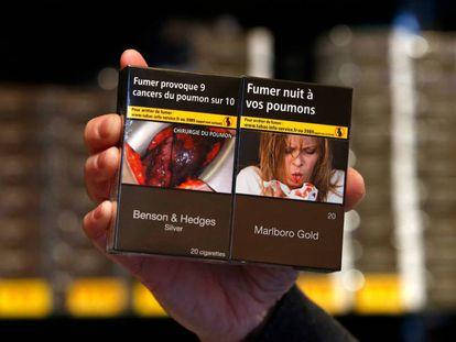 Maços na França com alertas sobre os riscos para a saúde