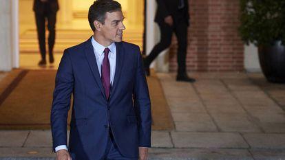 Pedro Sánchez, nesta segunda-feira, na Moncloa.