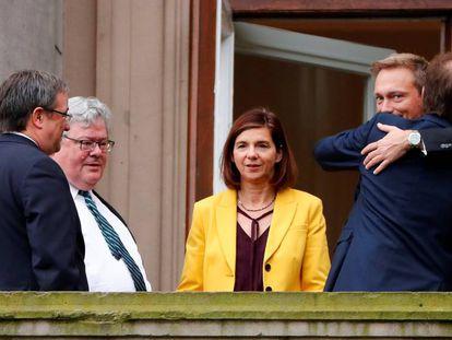 Lideranças partidárias alemãs antes de reunião de Governo.