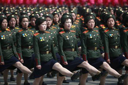 Um momento do desfile do sábado em Pyongyang.
