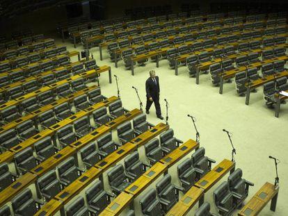 Plenário da Câmara vazio nesta segunda-feira.
