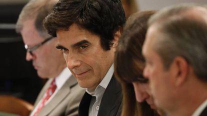 O ilusionista David Copperfield durante o julgamento em Las Vegas