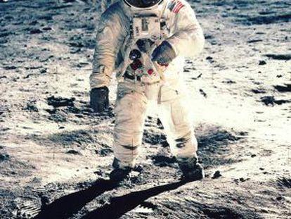 Edwin F. Aldrin, durante seu passeio pela superfície da Lua, em 1969.