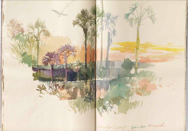 Aquarela extraída de um dos cadernos de viagem do artista