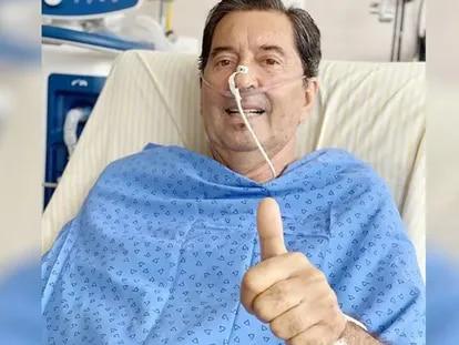 Maguito Vilela antes de voltar a ser sedado na UTI.