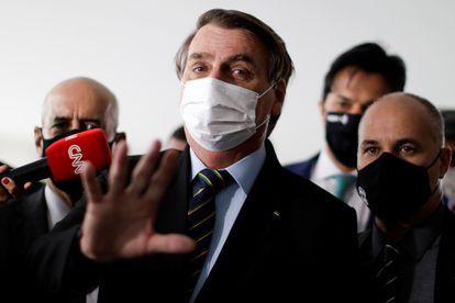 O presidente Jair Bolsonaro após uma reunião com o presidente da Câmara dos Deputados, Arthur Lira.